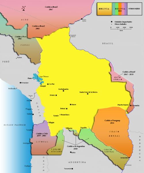 This another Bolivian map shows all the alleged territorial losses.