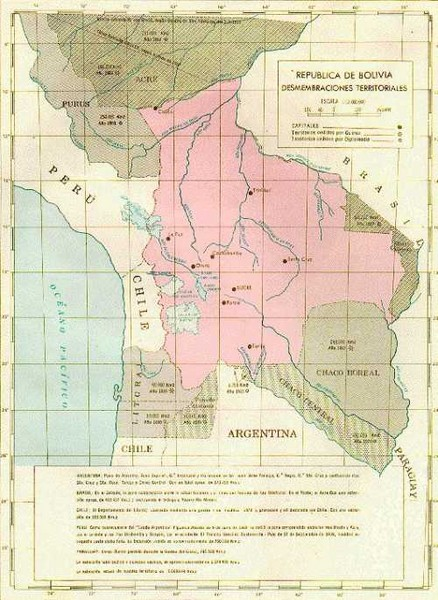 Alleged territorial losses of Bolivia Map