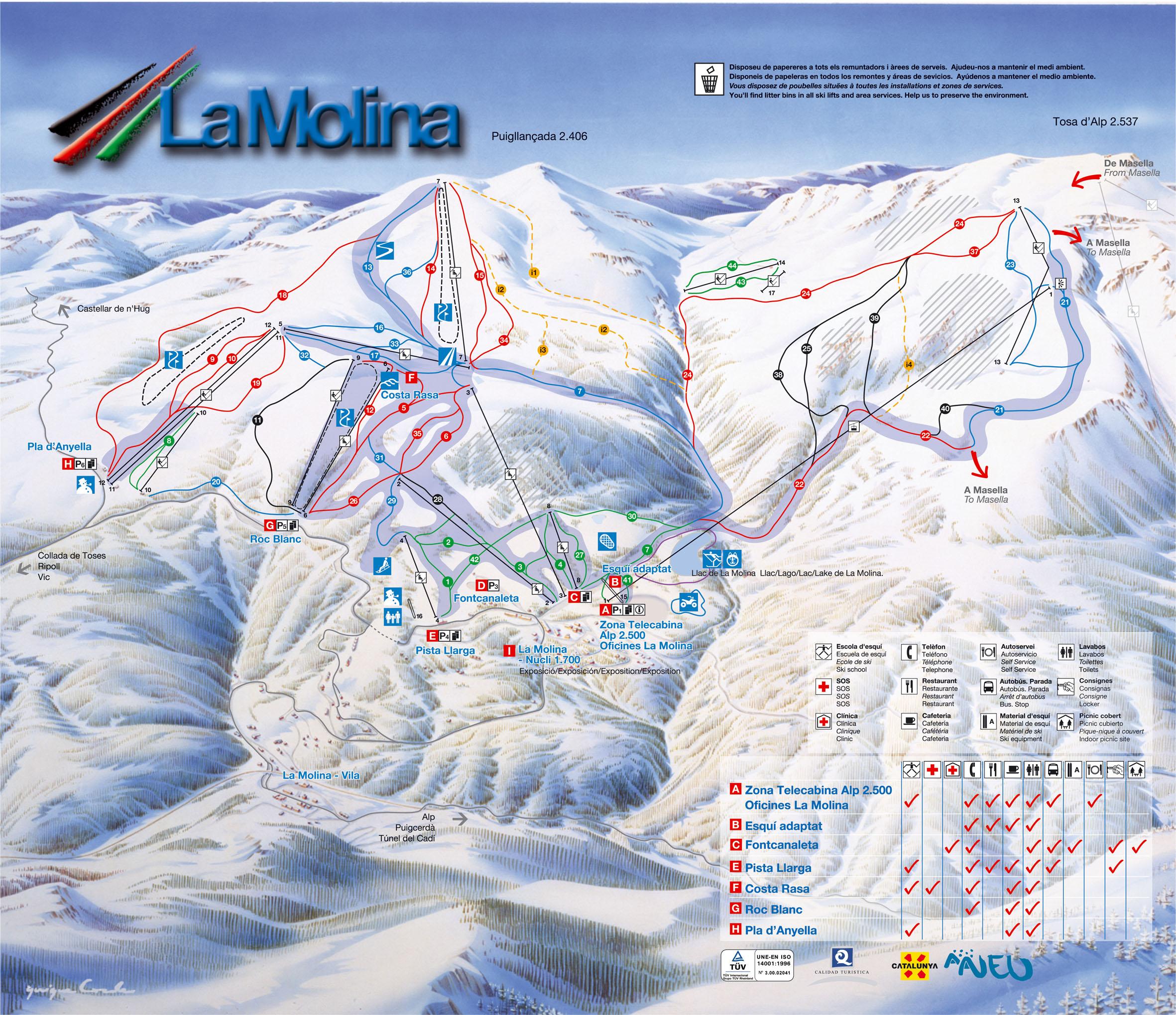 Alp 2500 La Molina Masella Ski Trail Map Carretera D039alp Masella 17538 Alp Spain Mappery