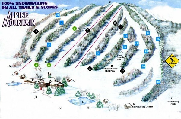 Alpine Mountain Ski Trail Map