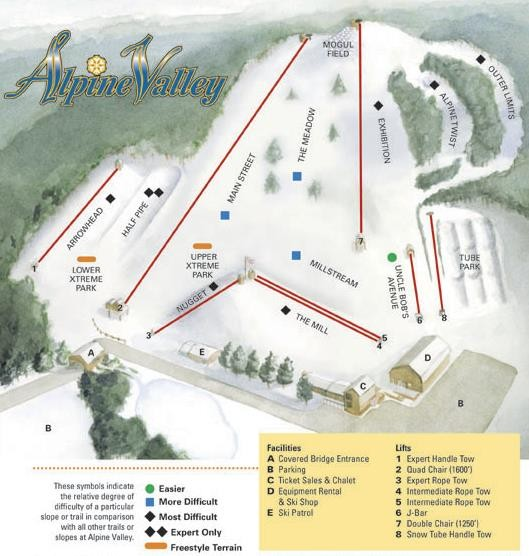 Alpine Valley Ski Area Ski Trail Map