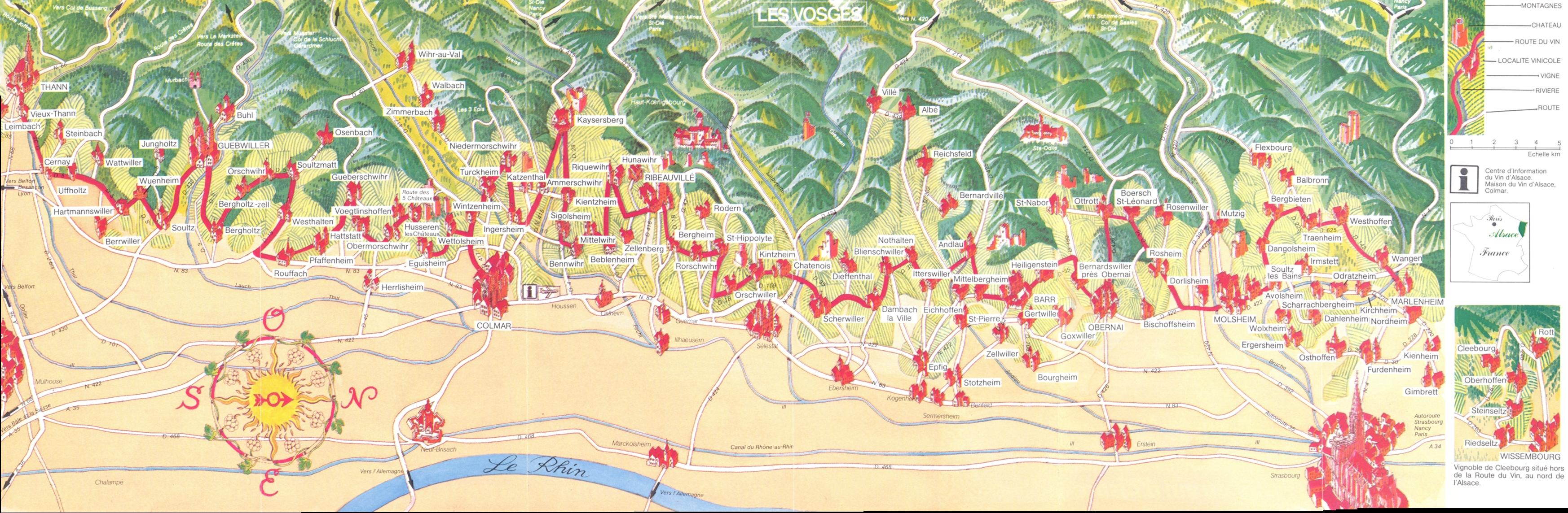 Alsace Route du Vin Map alsace fr mappery