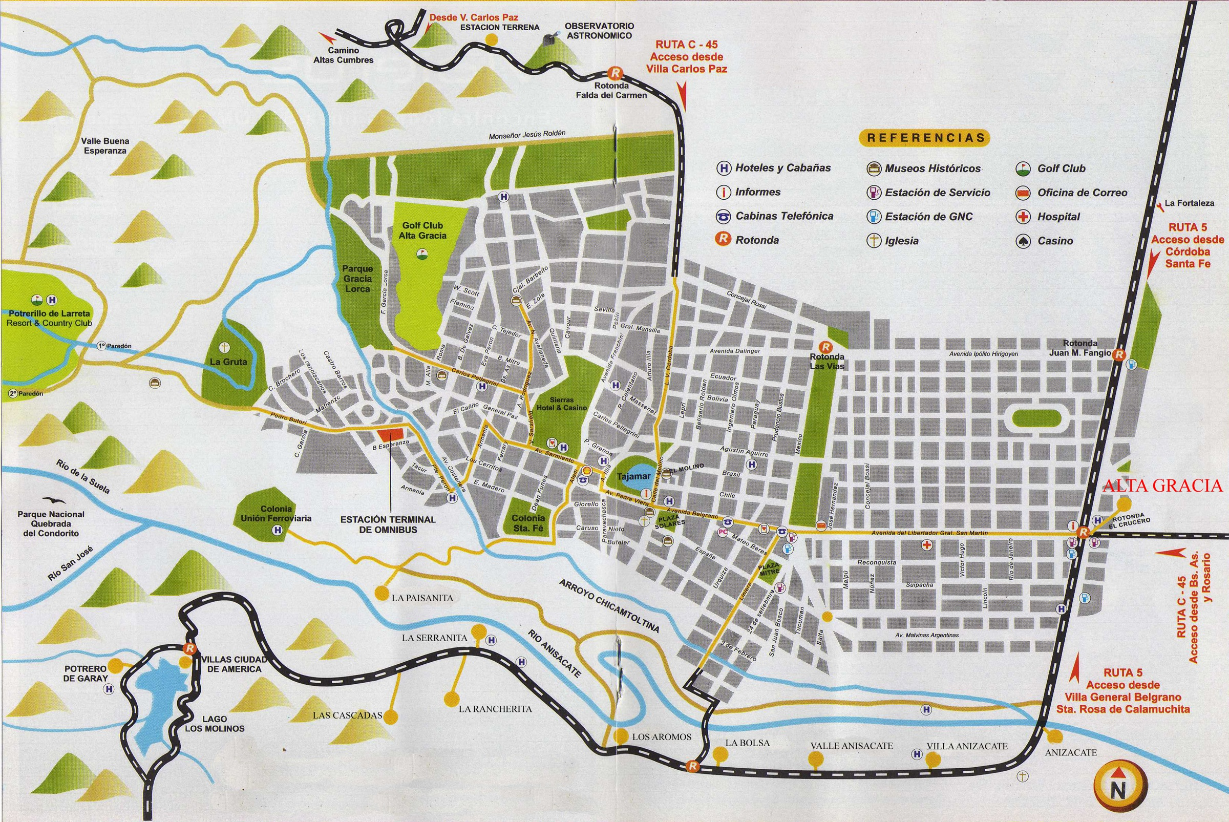 Alta Gracia Tourist Map Alta Gracia Cordoba Argentina mappery – Tourist Map of Argentina