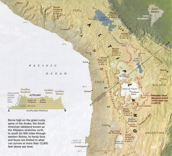 Altiplano in Western Bolivia Map