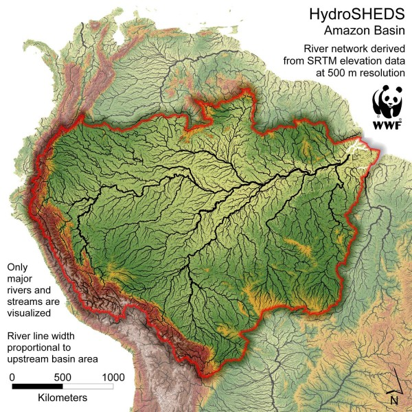 Brazil Map of Amazon Amazon Basin Hydrosheds Map