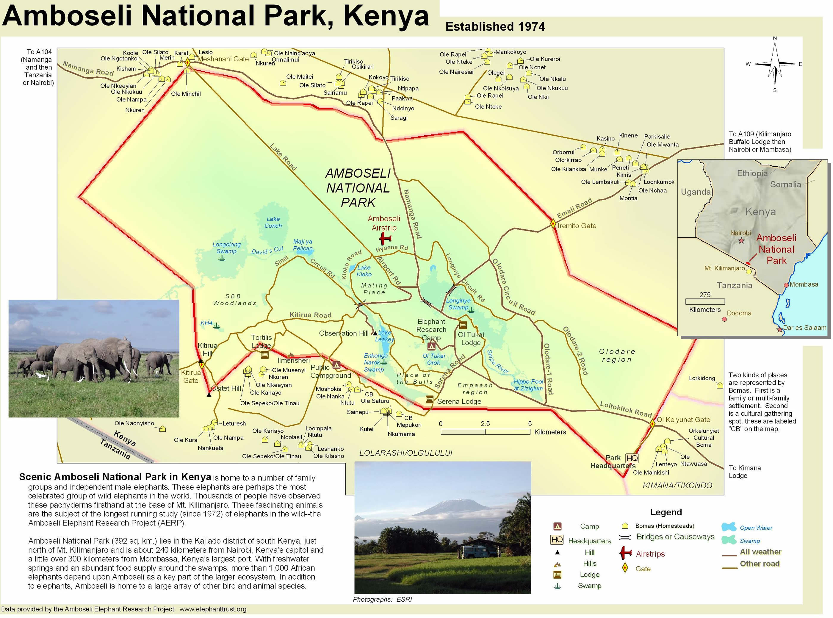 Amboseli National Park Map  Amboseli National Park Kenya  mappery