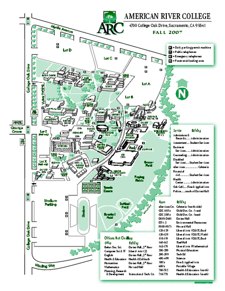 American River College Campus Map - 4700 College Oak Drive ...