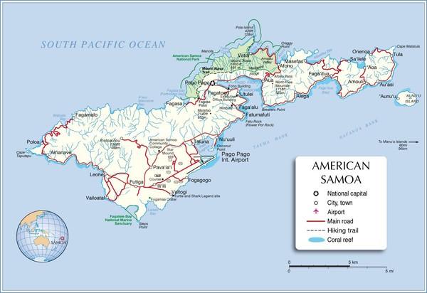 american samoa tutuila island map