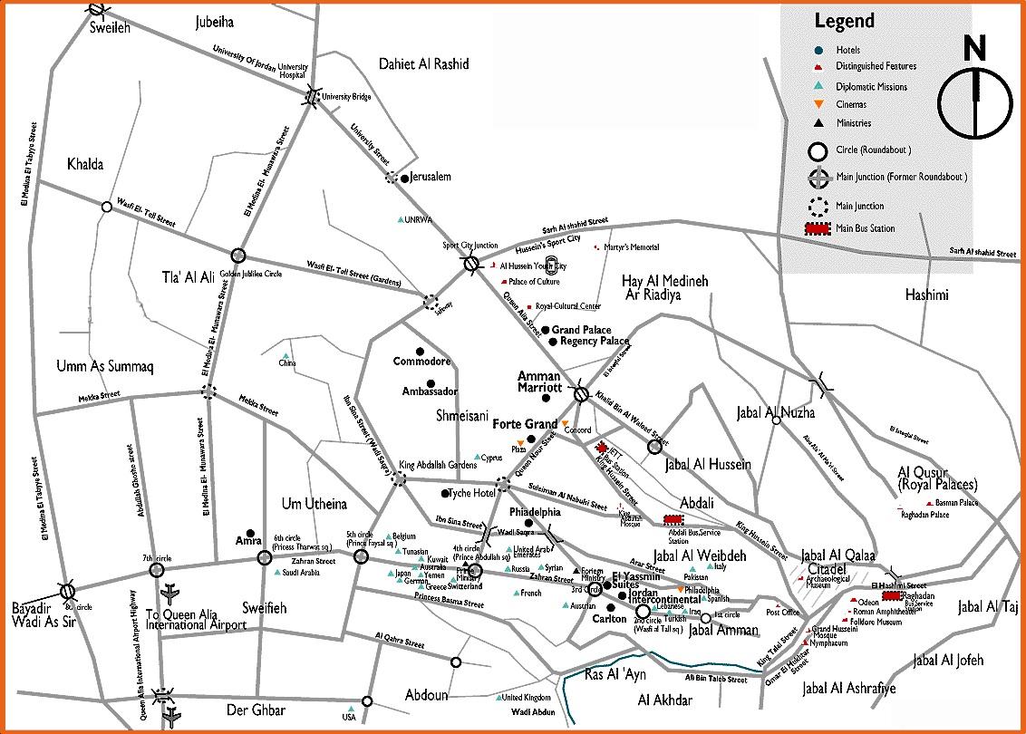 Amman City Tourist Map