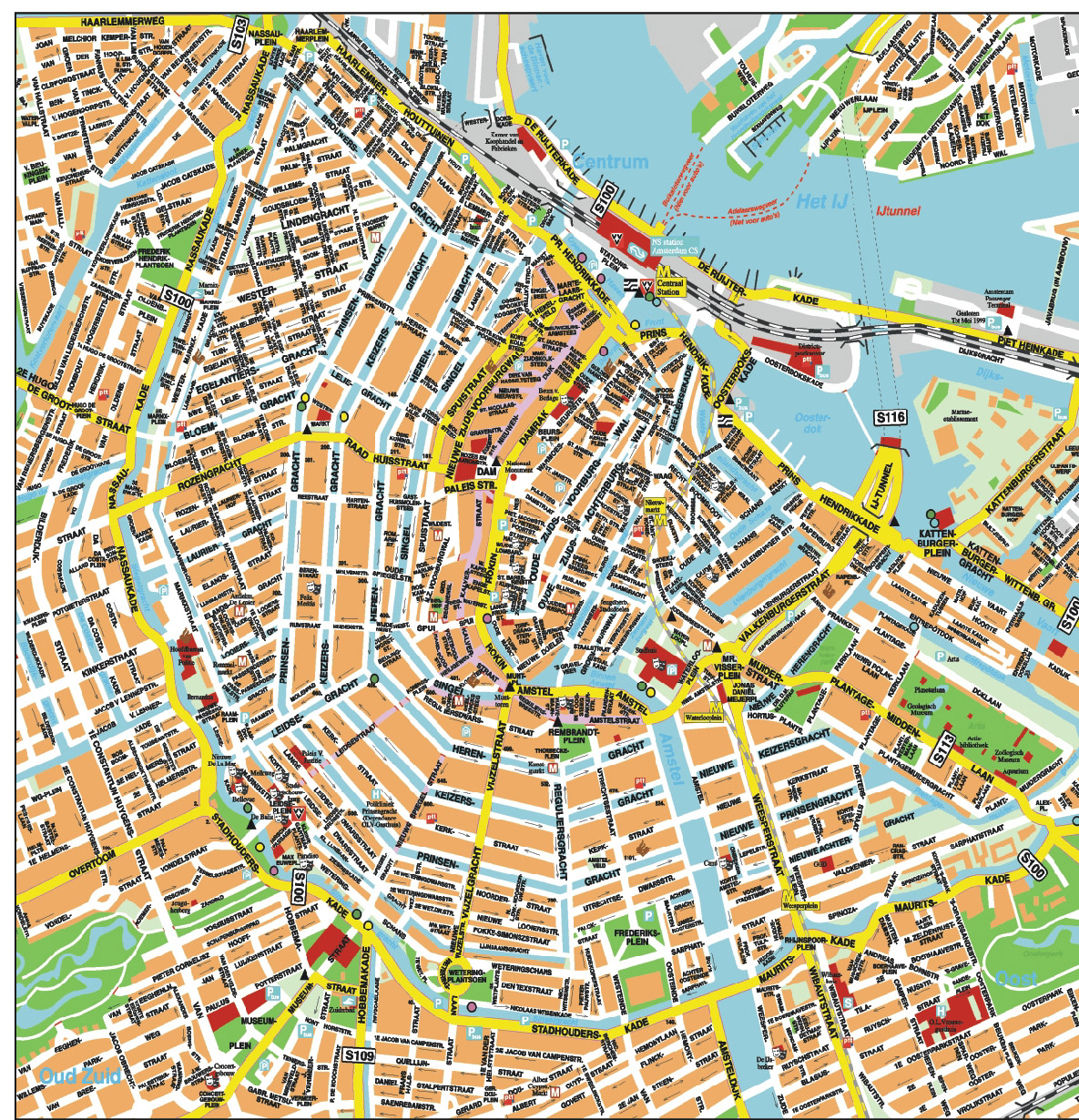 Amsterdam city tourist map amsterdam mappery - Carte amsterdam a imprimer ...