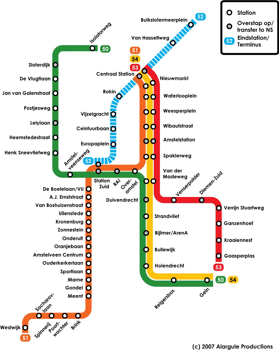 Amsterdam Metro Map Amsterdam mappery