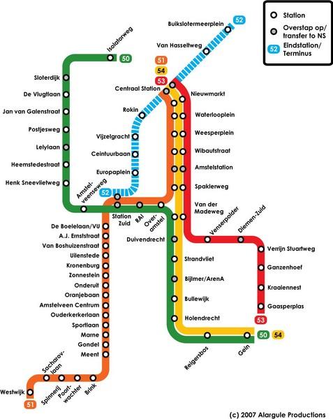 Amsterdam Metro Map - Amsterdam • mappery