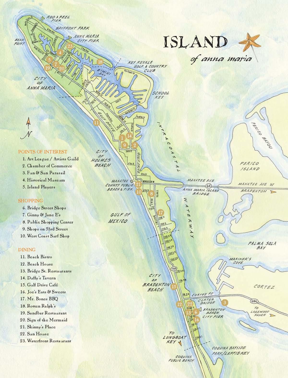 Map Of Anna Maria Island Florida.Ana Maria Island Tourist Map Ana Maria Island Mappery