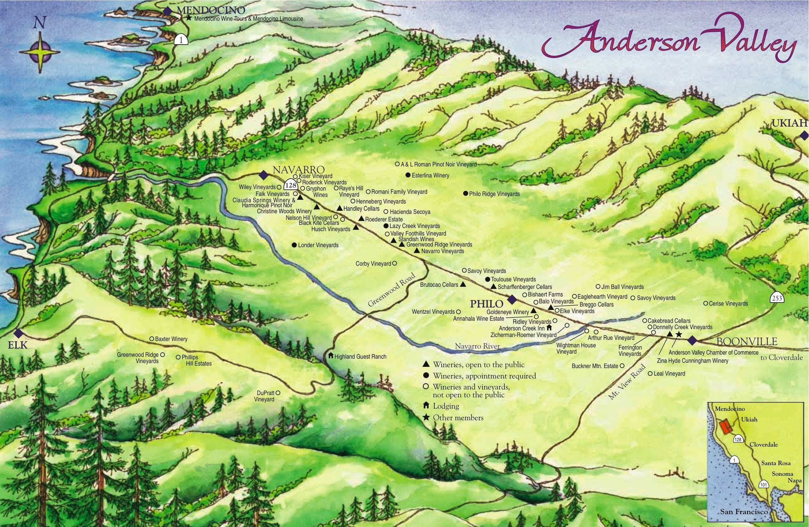 Anderson Valley Wine Map Philo California mappery