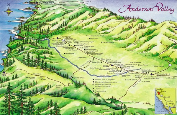 Anderson Valley Wine Map