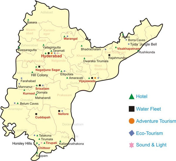 on map andhra pradesh