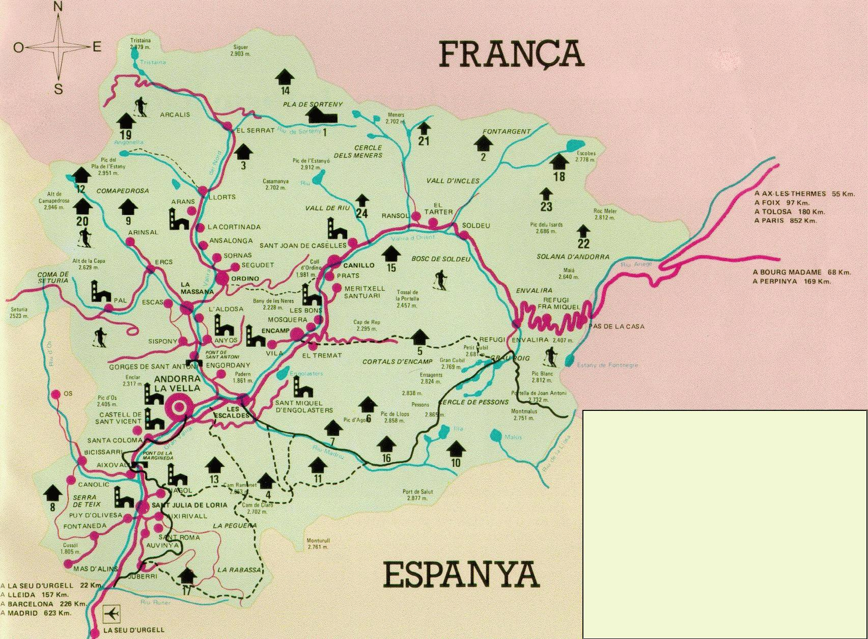 Andorra Tourist Map Andorra Mappery