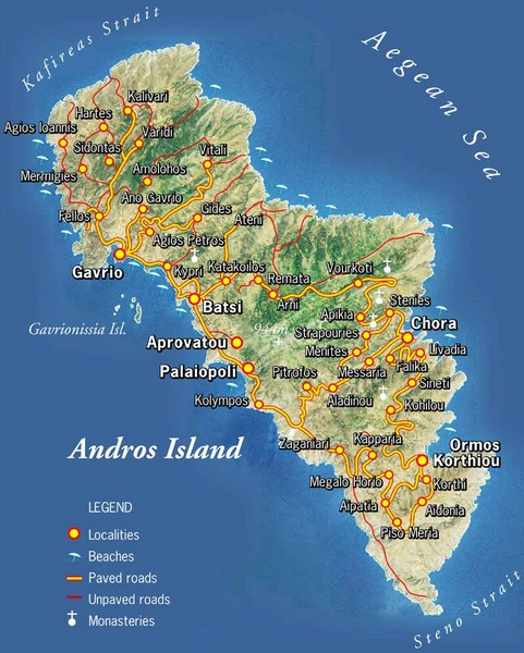 Andros Island Tourist Map