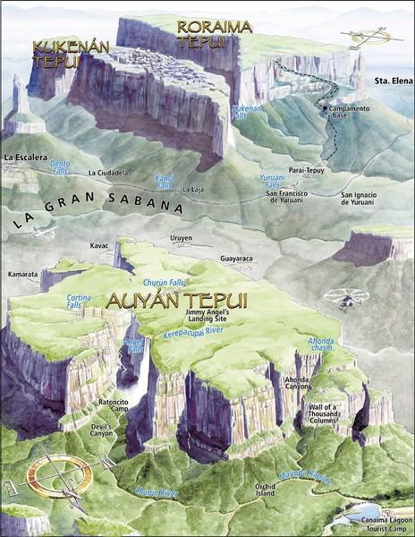 Venezuela Topographic Map.Angel Falls Oblique Map Venezuela Mappery