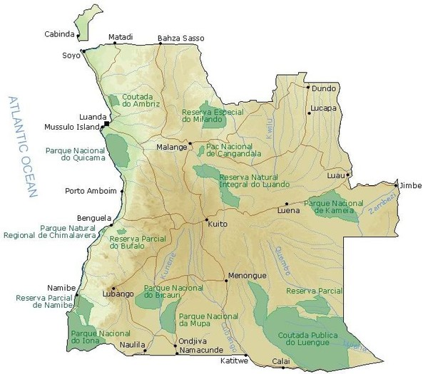 Angola National Parks Map