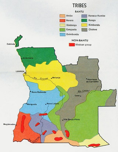 Angola Tribes Map