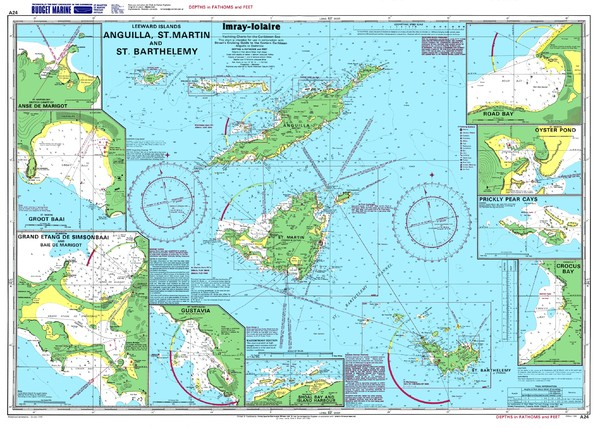 Anguilla St. Martin St. Barthelemy Nautical Map