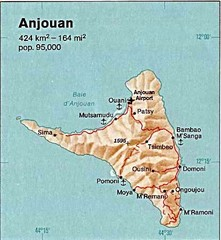 Anjouan Island topography Map