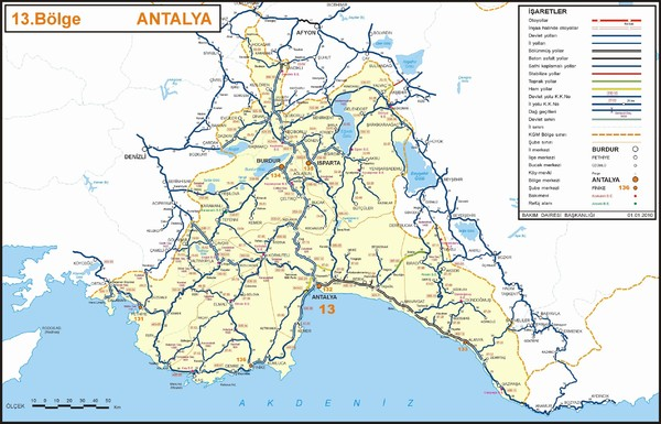 Antalya Region Highways Map