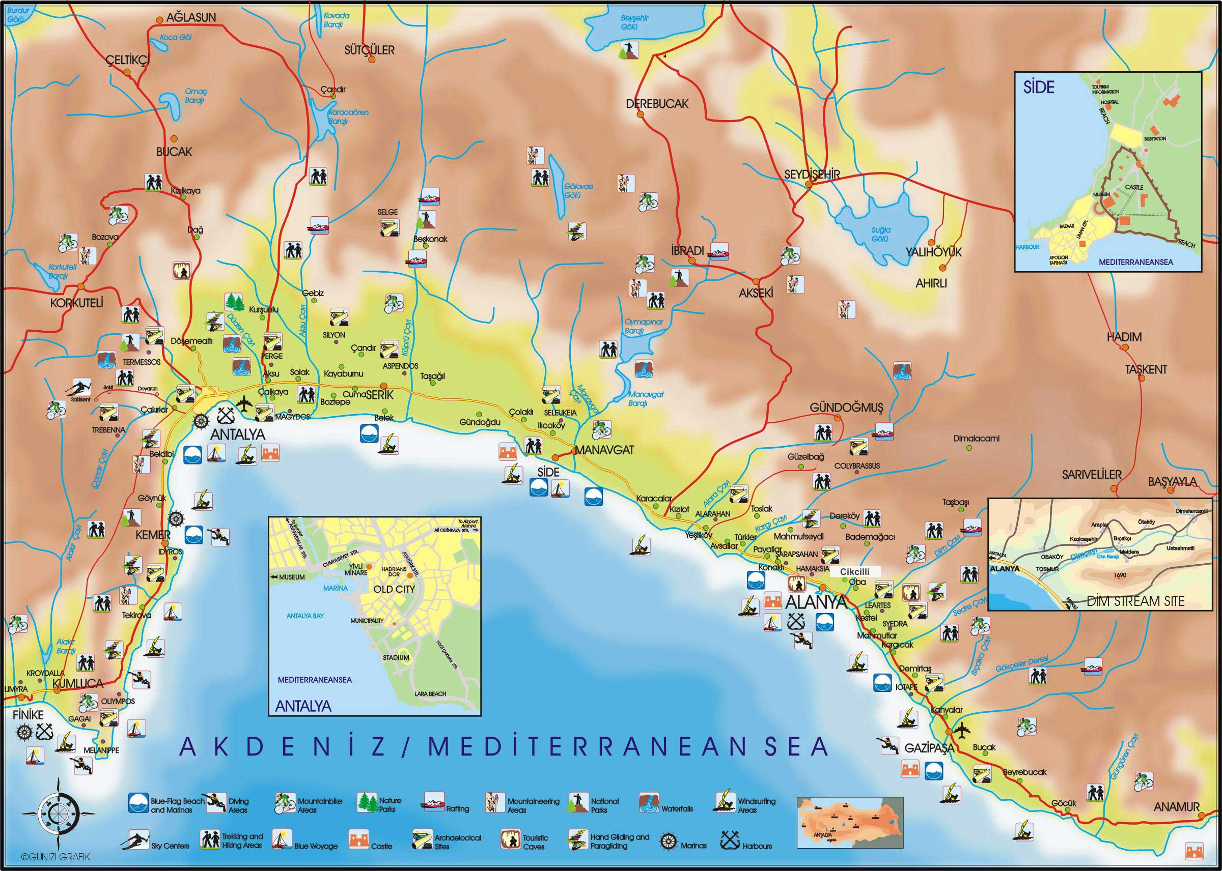 Antalya Region Tourist Map Antalya Turkey mappery