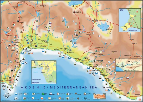 Antalya Region Tourist Map