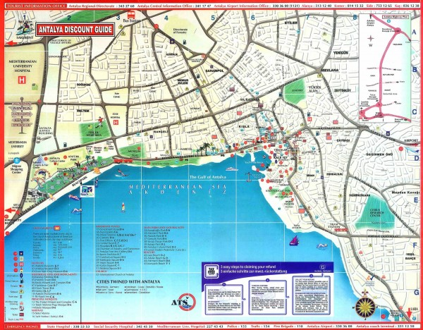 Antalya Tourist Map Antalya Turkey mappery