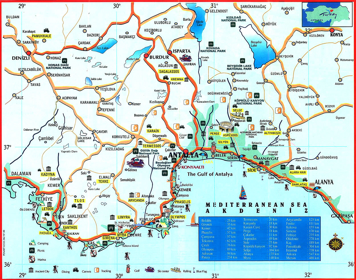 . antalya turkey tourist map  antalya turkey • mappery