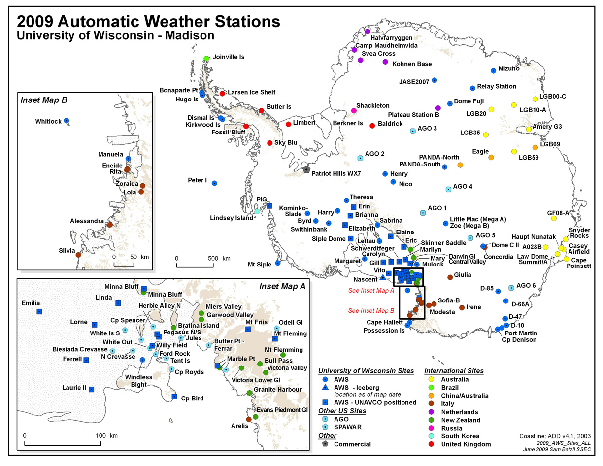 Antarctic Automatic Weather Stations Map Antarctica mappery