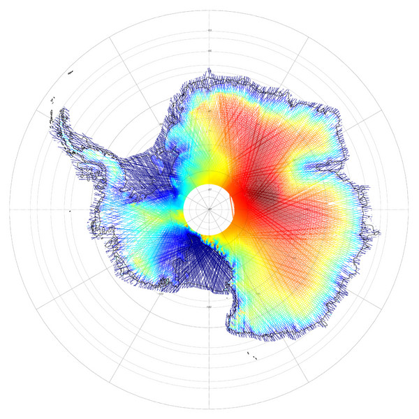 Antarctica Land and Ice Elevation Map