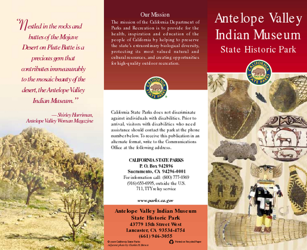 Antelope Valley State Park Map