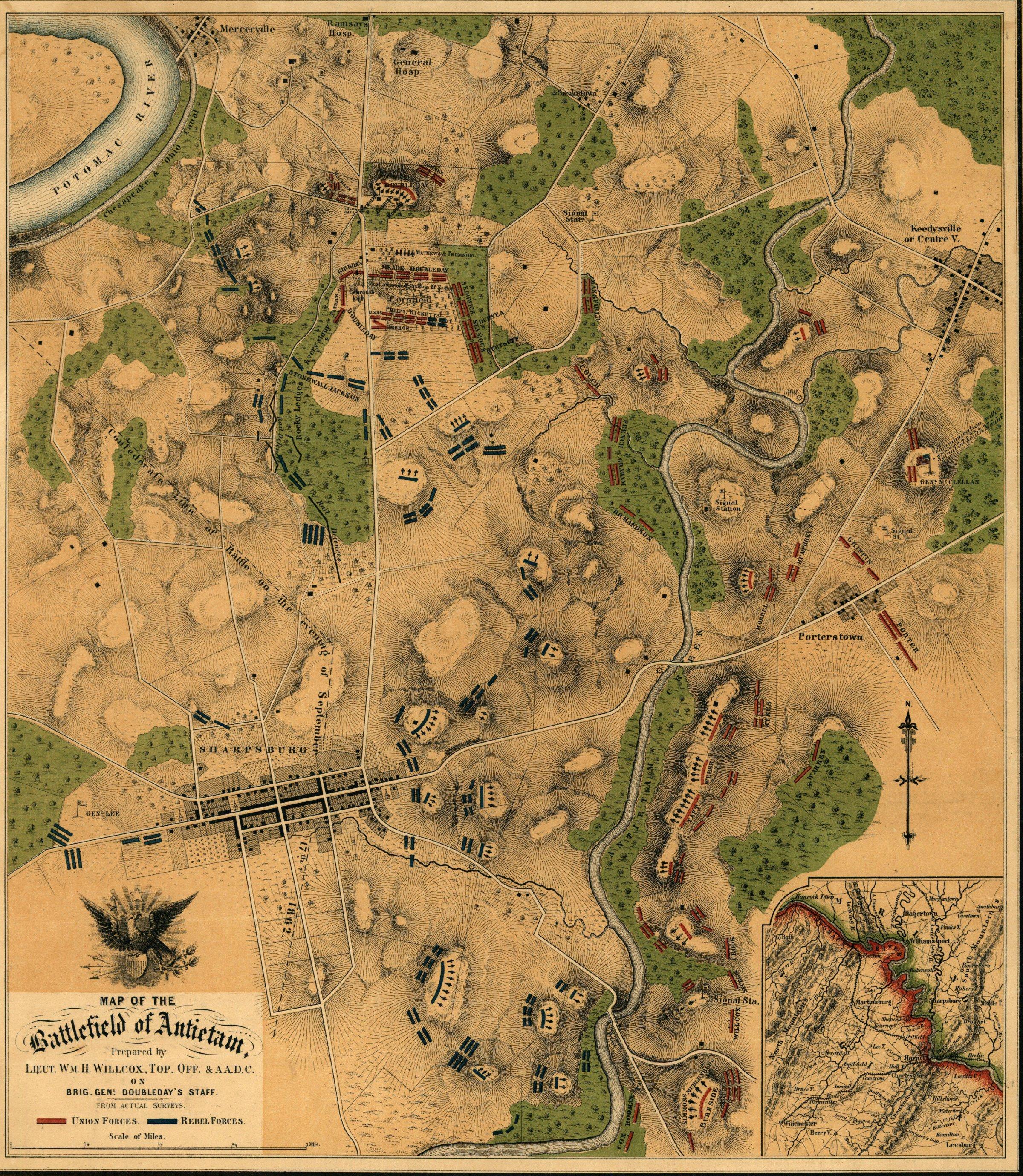Historical Maps Of Maryland%0A Antietam Battlefield Map Sharpsburg MD mappery