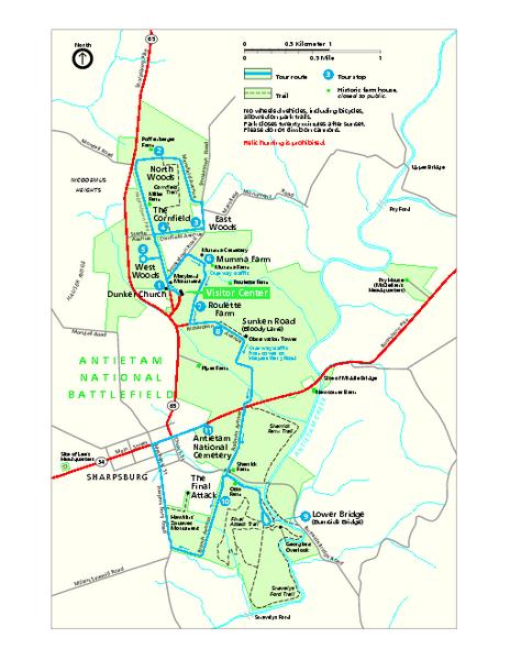 Antietam National Battlefield Official Map - Antietam National ... on