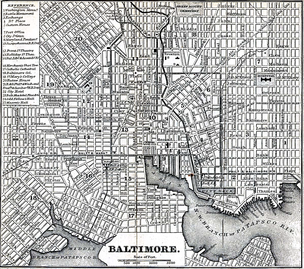 Antique Map of Baltimore from 1869 baltimore maryland mappery