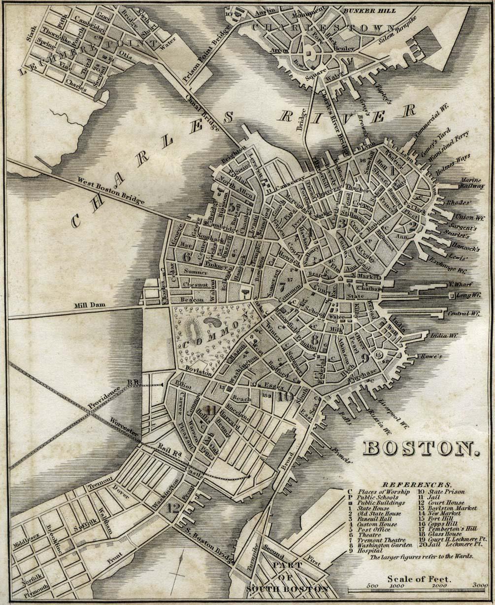 Antique map of Boston from 1842   boston massachusetts • mappery