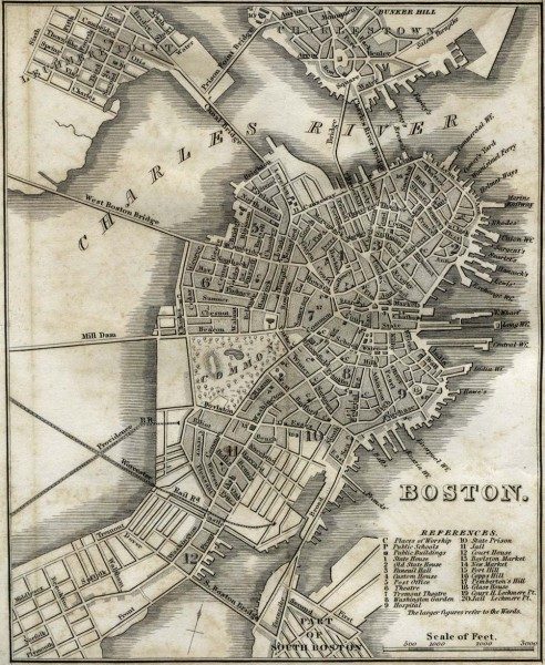 Antique map of Boston from 1842