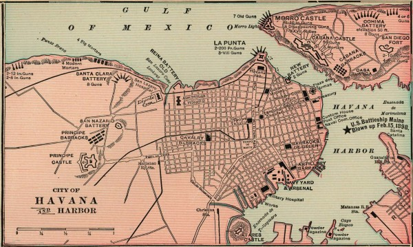 Antique map of Havana, Cuba from 1901
