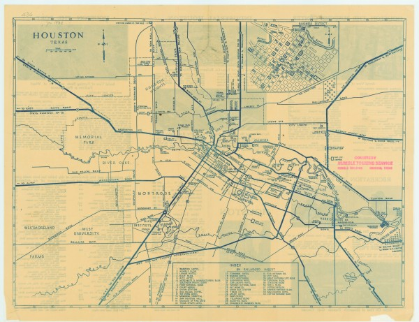 Antique map of Houston from 1935