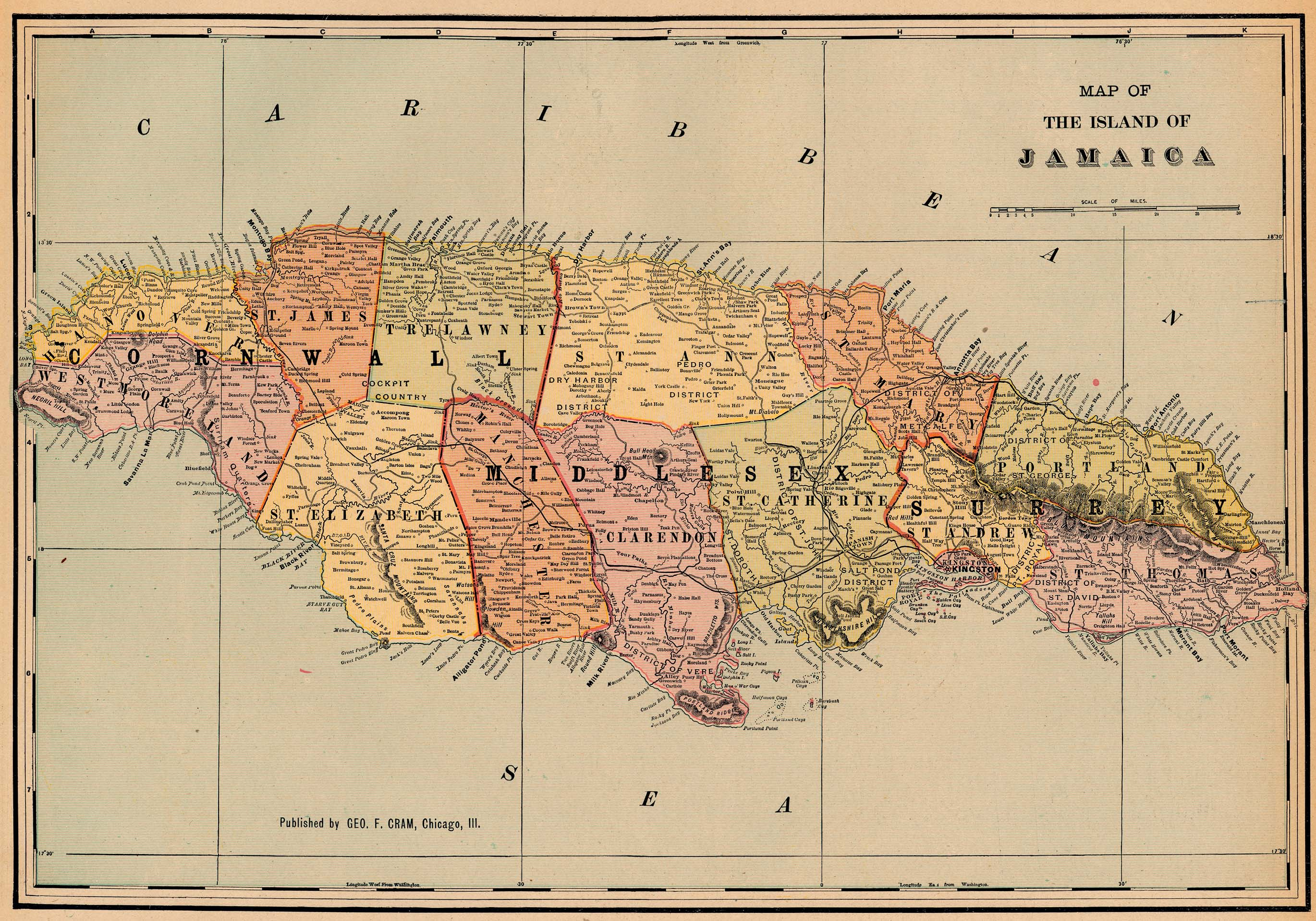 Antique map of Jamaica from 1901 - jamaica • mappery