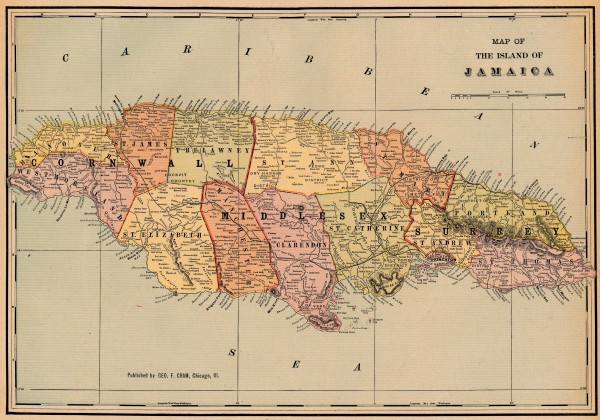 Antique Map Of Jamaica From Jamaica Mappery - Jamaica map