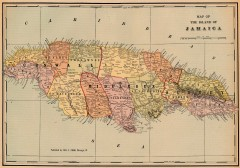 Antique map of Jamaica from 1901
