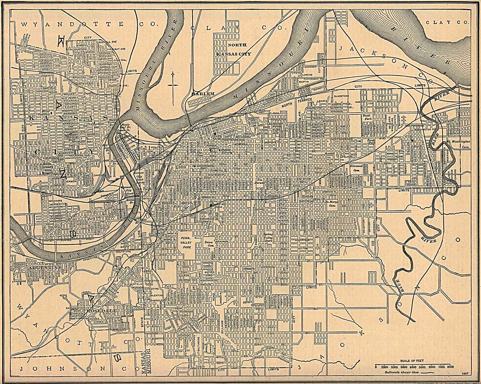Antique Map Of Kansas City From Kansas City Missouri Mappery - Map of kansas