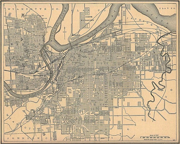 Antique map of Kansas City from 1907