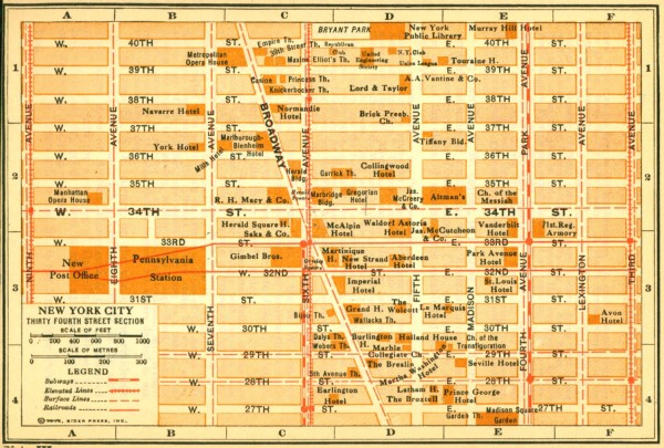 Antique map of Manhattan from 1916