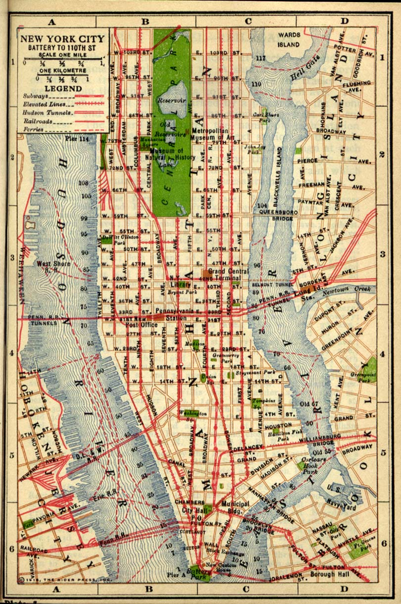 Antique map of Manhattan from 1916  new york new york  mappery