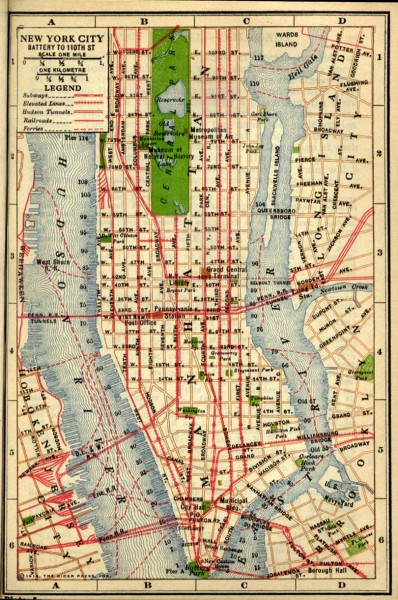 Antique map of Manhattan from 1916   new york new york • mappery